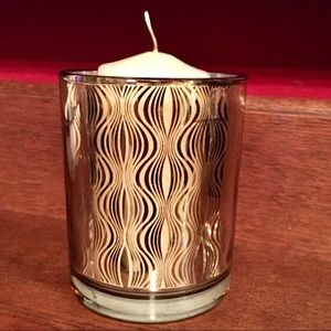 Retro Gold Ripple Glass Candle Holder